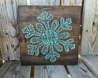 SNOWFLAKE Wood String Art Sign winter christmas snowman gift seasonal home decor