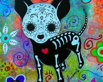 Mexican Dia de los Muertos Chihuahua Dog Perrito Mi Fiel Amigo Original Painting