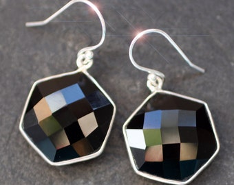Black of Night  -  Faceted Black Onyx and Sterling Silver Earrings