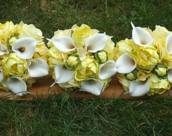 Charming bridesmaids bouquet with real touch mini calla lilies, real touch partially open peonies and hydrangea