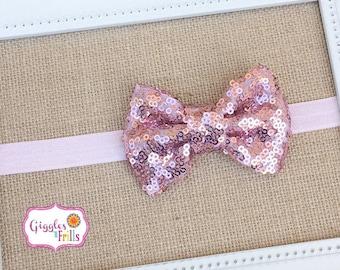 Pink Glitter Headband, Pink Sequin Headband, Toddler Headband, Newborn Headband, Glitter Headband, Baby Headband, Pink Sparkly Bow Headband