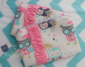 Rainy Owl Ruffle Zipper Accessory Pouch - Ready To Ship