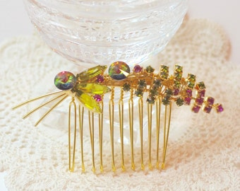 Vintage Bridal Comb, Austrian Crystal Hair Comb, Wedding Hair Comb, Bridesmaid Comb, Pink, Green, and Gold Hair Comb, Mother of Bride,