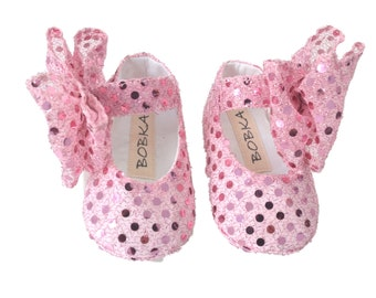 Baby Shoes, Newborn Crib Shoes, Pink Bling, Photo Prop, Mary Jane With Large Bow Sequins by Bobka Baby