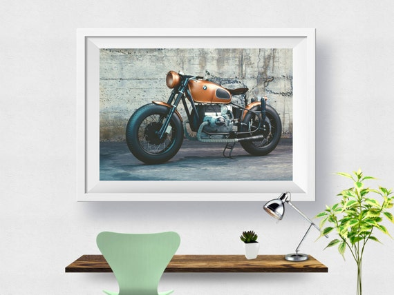 Bmw motorcycle abstract art print home decor modern by for Motorcycle decorations home