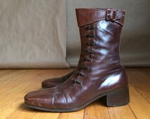 vintage 90's stacked heel / brown leather /mens / ankle boot  / Made in Italy