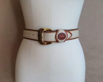 WEEKEND SALE ! sale 1990's vintage Dooney & Bourke belt / two tone leather / brass buckle / Made in the USA
