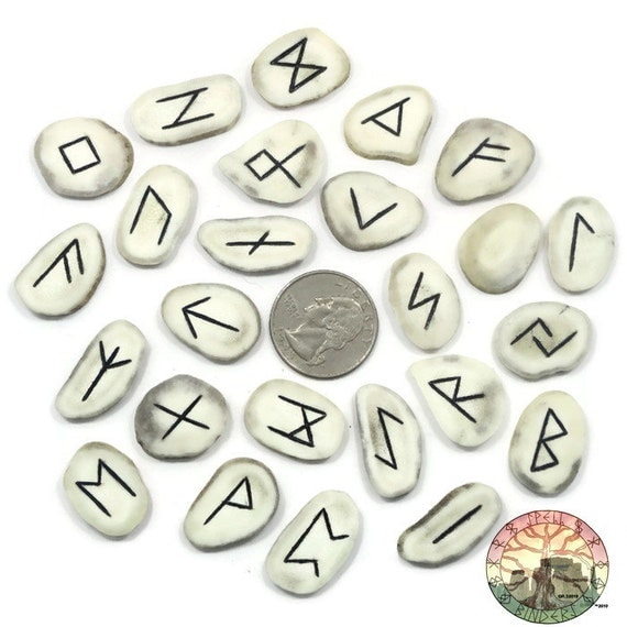 Natural Bone Rune Set Elder Futhark (Hand Carved) With Manual & Pouch