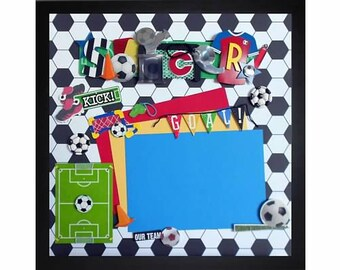 SOCCER GOAL Premade Memory Album Page (Gallery Wood Box Frame Sold Separately)