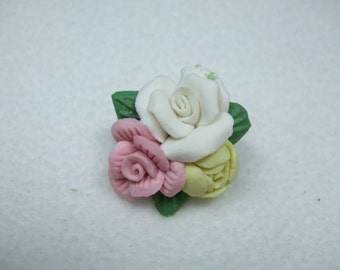 Vintage clay pink white and   yellow rose vintage brooch