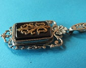 antique glass locket Pendant // fleur de lis //france