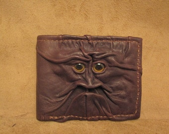 Grichels leather bi-fold wallet - dark chocolate brown with golden brown fish eyes