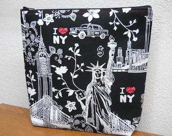 I love New York / Make Up Bag / Travel Bag / Cosmetic Bag / NEW YORK / I heart New York / Make Up / Black and Red / Black and White Make Up
