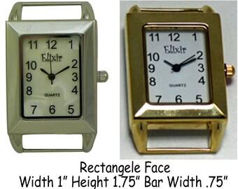 Rectangular Solid Bar Watch Face for Interchangeable Watch Bracelet