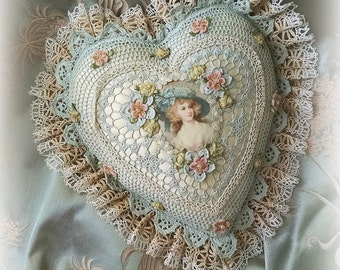Antique Style Exquisite Romantic Cottage Shabby Chic Pillow - Robin's Egg Blue Crocheted Heart Shape - Antique Laces - Ribbonwork Flowers