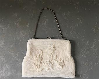 Vintage Evening Bag, Wedding Purse, clutch, Beaded Bag, handbag, prom, ivory, white