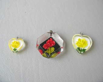 Vintage Clear Lucite Rose Pendant, Charm, ONE, Your Choice