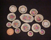 Dollhouse Miniature 14pc paper thin pale yellow luster chintz flower design kiln fired porcelain dishes by IGMA Fellow J. Uyetake