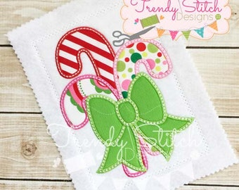 Candy Cane Bow Applique Design Machine Embroidery Design INSTANT DOWNLOAD