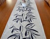 Linen Table Runner Hand Screen Printed Australian Wattle Dark Blue & Natural