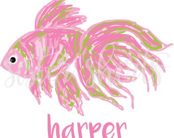Watercolor Pink Fish Personalized Children's Tee