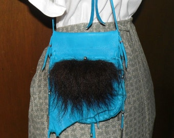 Medicine bag pouch turquoise leather buffalo fur cross body shoulder bag