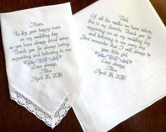 Wedding Day Thank you Wedding Favor Gifts Mother & Father of the Bride Groom Stepmother In Law Gifts Wedding Handkerchief Canyon Embroidery