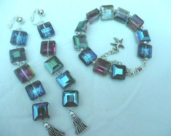 New! Set of Earrings and Bracelet ,coloured crystal,faceted crystal jewelry