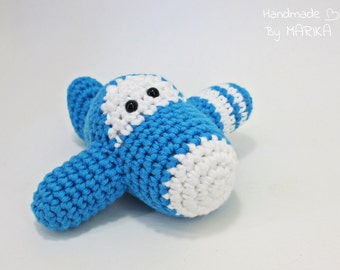 Airplane baby rattle crochet toy - organic cotton toy - amigurumi toy - blue and white