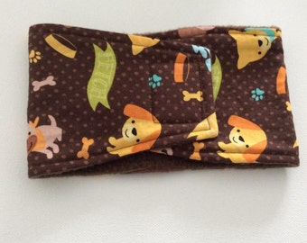 Dog Diaper - Male Dog - Belly Band - Belly Wrap - Brown Polka Dot with Puppies - Available in All Sizes