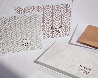 Thank You Cards - Herringbone Thank You Notes, Geometric Distressed Patterns, Modern Herringbone Thank You Card Set Neutral Grey Brown Cream