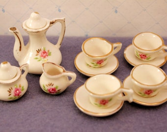 Miniature Tea Set Pink Roses Porcelain Toy Dishes Collectible 13 Piece