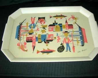 Vintage 1950's Plastic Tray-Kelly Oechsli Art-Seafood/Nautical Rosati Kain Memorabilia