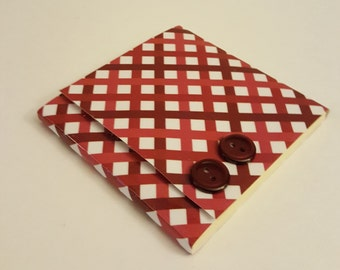 Red and White Gingham Sticky Notes Pad with Red Buttons