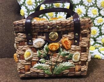 Vintage Straw Weave Flower Handbag Leather