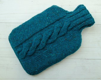 Hot water bottle Cover teal tweed Cable Irish Wool