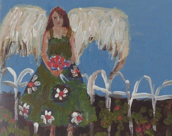Garden Angel, a GICLEE PRINT from an original oil painting, 8x8 inches on Velvet fine art paper, angel, wings, flowers
