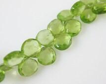 Peridot Gemstone-Semi Precious Gemstone Bead-100% Genuine Faceted Briolette Bead-Heart Shape- 6 mm-August -Grade B -Loose Beads-309007-PRD-B