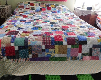 Handmade Double, Disappearing 9 Patch Quilt, handcrafted, custom made, unique, colorful, bedroom quilt, grandma's quilt, machine quilted