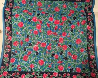 Vibrant Floral Vintage Cotton 1980's Italian Scarf