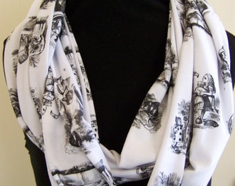 Alice In Wonderland Toile Knit Infinity Scarf