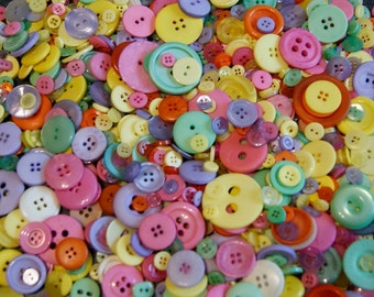 100 Bold Pastel Buttons - EASTER MIX  Lavender, Green, Yellow, Orange, Pink Mix  Grab Bag Crafting Jewelry Collect (193)