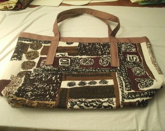 Lg Heavy Duty Brown and White Upholstery Shopping Tote