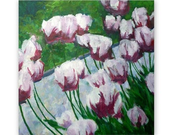 Tulips, original acrylic painting, floral, spring, magenta and white, 40 cm x 40 cm