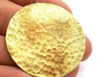 Hammered Round Pendant  (40mm)  Antique Raw  Brass   G5929