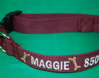 Personalized Embroidered Dog Collar With Embroidered Name and Phone Number Great Gift for Dogs