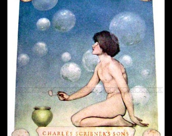 Maxfield Parrish FRONTISPIECE- Original Color Plate from children's book- Poems of Childhood 1904