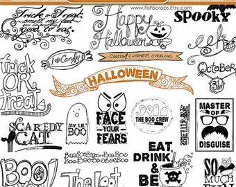 SALE - Halloween Word Art, Halloween Scrapbooking Title Quotes, Photoshop Brush & PNG clipart, Digital Stamps, Candy, Ghost, Black Cat
