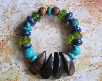 Into Nature Bracelet - Multistone and wood bracelet