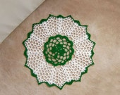 Green Shamrock Crochet Lace Doily, Irish Home Decor, New Table Topper, Accessories